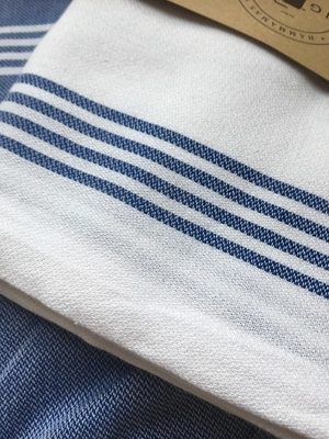 HAMAM-HANDDUK - WHITE WITH ROYAL BLUE STRIPES