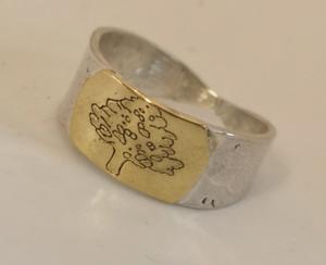 Silver ring med 18K guld