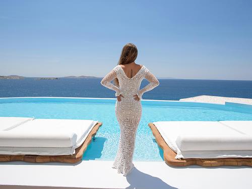Handmade crochet long sleeve wedding dress WHITE