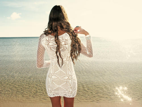 Handmade crochet long sleeve dress WHITE