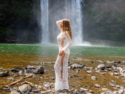 Handmade crochet exclusive wedding dress WHITE