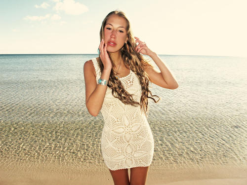 Handmade crochet mini dress BEIGE
