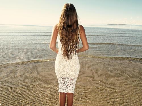 Handmade crochet knee length dress WHITE