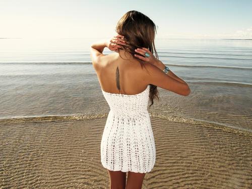 Handmade crochet strapless dress WHITE