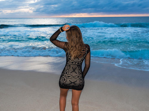 Handmade crochet long sleeve dress BLACK