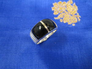 Silverring med svart emalj