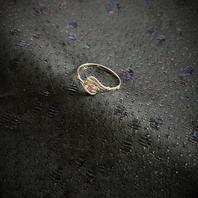 Ring  i äkta silver med syntetisk rubin.  Storlek: 18. 1970talet