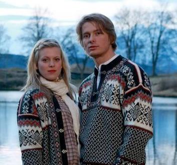 Borgund Sweater - Grey & Off white