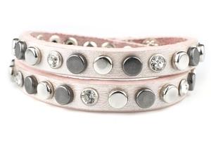 VÅGA smycken, läderarmband dubbel, rosa