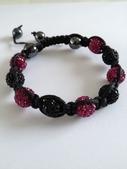 Shamballa armband svart och rosa bling