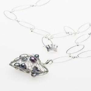 Pearls for Girls silverpläterad kedja med hjärta, längd 105 cm