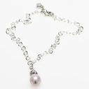 Pearls for Girls. Silverpläterad kedja med rosa pärla, längd 45 cm