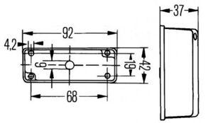 Breddmarkeringslykta Svart/vit 92 x 42 mm