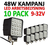Superfynd! 10 pack 48W LED arbetsbelysning 60°  Totalt 30000 lumen 9-32V
