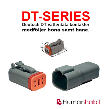 Deutsch DT anslutningskontakt 2 pin hona samt hane