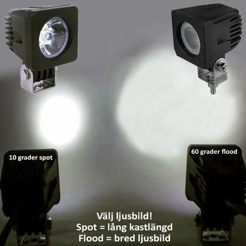 6 pack 10W CREE LED miniatyr 30° spot 9-32V