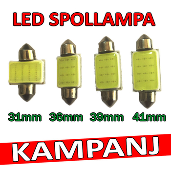 Spollampa 12 Volt COB valbar 31 - 36 - 39 - 41 mm