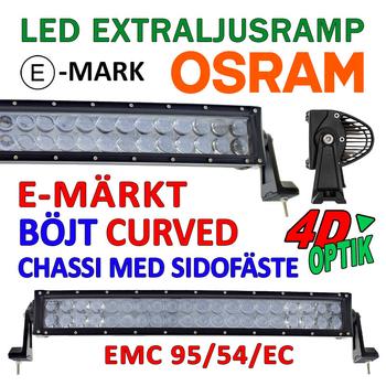 120-288W böjd curved LED extraljusramp Osram 4D optik E-mark EMC sidomonterad 2018
