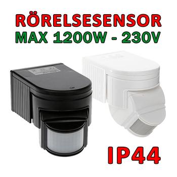 Rörelsesensor med inbyggd nattsensor max 1200 Watt för 230V 50-60 Hhz P-07