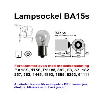 Ba15s 11 Watt LED backljus etc