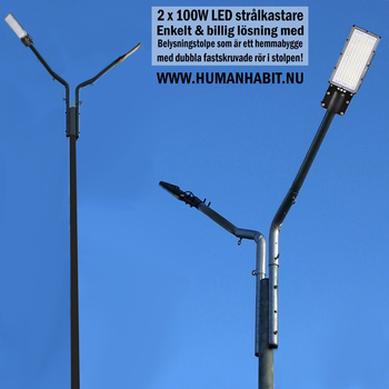 100W LED gårdbelysning & gatubelysning för vägg eller stolpmontage