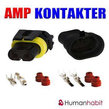 AMP kontakter - 2 polig vattentät hona samt hane