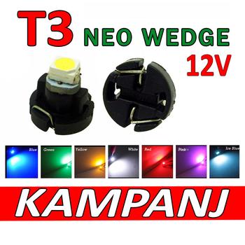 T3 Neo Wedge styling med 1st 1210 SMD med valbara färger - 12 Volt
