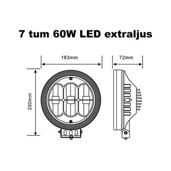 60W LED extraljus med LED ring positionsljus E-märkt valbar storlek 7 och 9 tum