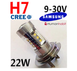 H7 22W med 12st Samsung 2323 SMD 10W CREE 500 Lm 9-30V