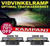 Komplett belysningspaket 288W 9D LED extraljusramp med fäste och kablage