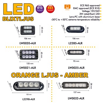 LED blixtljus 133x65mm ECE R10  R65 LW0021-ALR