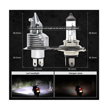 H4 LED konvertering 4000 lumen original passning som halogenlampa 2020 modell