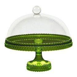 LOB Design - Princess tårtfat limegrön med klar huva