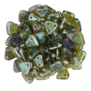 Czech Mate Triangle Bead, Aquamarine Celsian. 5 gram.