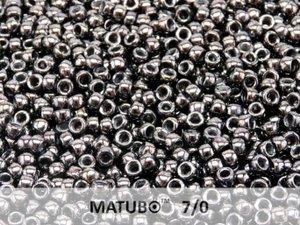 Matubo 7/0, Jet Hematite. 10 gram.