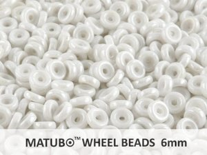 Wheel Bead, Chalk White Luster, 6 mm. 10 gram.