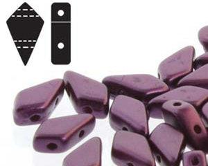 Kite bead, två-hålig tjeckisk pärla, Pastel Bordeaux. 9*5 mm. 10 gram