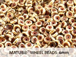 Wheel Bead, Chalk Travertin Dark, 6 mm. 10 gram.
