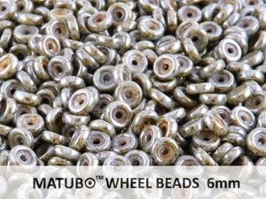 Wheel Bead, Chalk Blue Lazure, 6 mm. 10 gram.