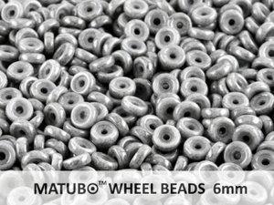Wheel Bead, Chalk Grey Luster, 6 mm. 10 gram.