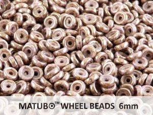 Wheel Bead, Chalk Brown Senegal Violet, 6 mm. 10 gram.