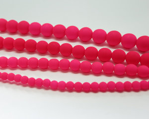 Rund druk tjeckisk pärla, UV Neon Pink, 25123. 10 mm. En längre sträng, 16 cm.