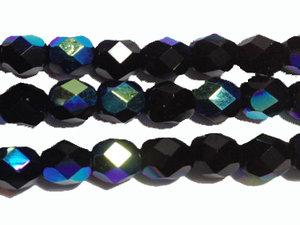 Fasetterad tjeckisk fire polish pärla i svart AB, 6 mm. En sträng.