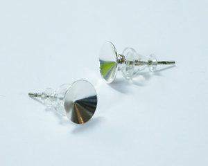 Örpinnar för rivoli 8 mm, galvaniserad i Tjeckien, rhodium. 1 par