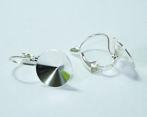 Brisyr örkrokar för rivoli 12 mm, galvaniserad i Tjeckien, silver. 1 par