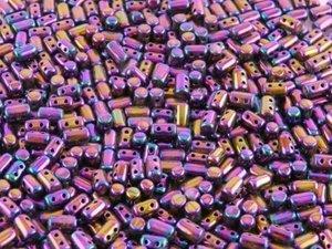 Rulla beads, tjeckisk cylinderformad två hålig pärla,  Purple Iris. 10 gram