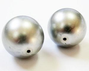 Rund silver 16 mm stor glaspärla. 2 st.