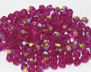 Machine cut bikon från Preciosa, 3 mm. Fuchsia AB. 10-pack.