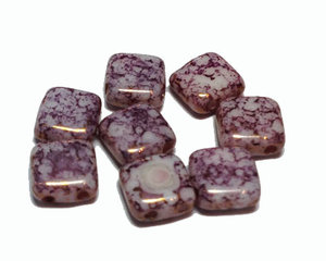 Tjeckisk rosalila 2-hålig tilepärla med mosaikeffekt, 6*6 mm. 20-pack.