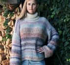 Tvåfärgad patentsweater i Rigmor/Luna by Permin 896534